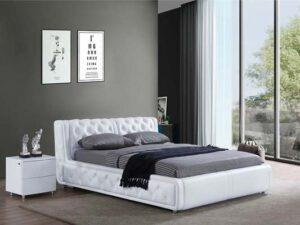 מיטה זוגית דגם רטרו לבן עם ארגז