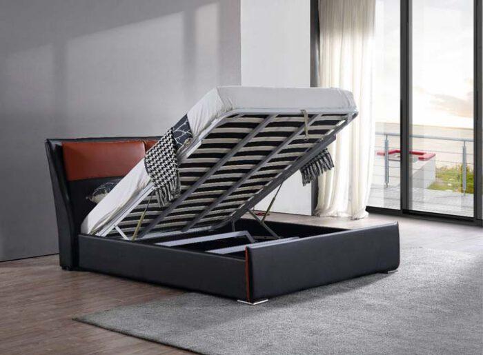 מיטה זוגית דגם בריטני שחור חום