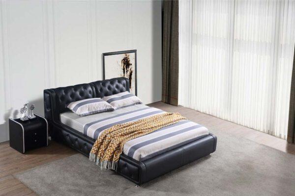 מיטה זוגית דגם רטרו שחור