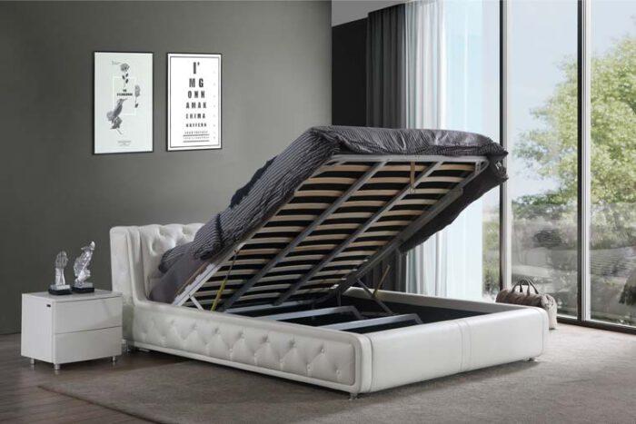 מיטה זוגית דגם רטרו לבן