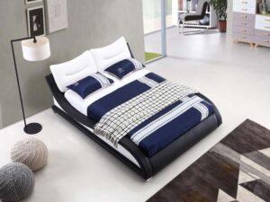 מיטה זוגית דגם וויב שחור לבן