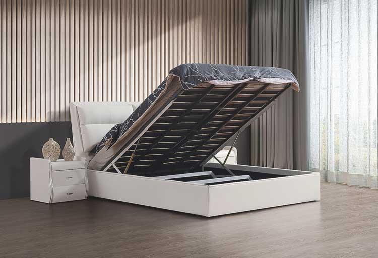 מיטה זוגית דגם שלבי לבן עם ארגז