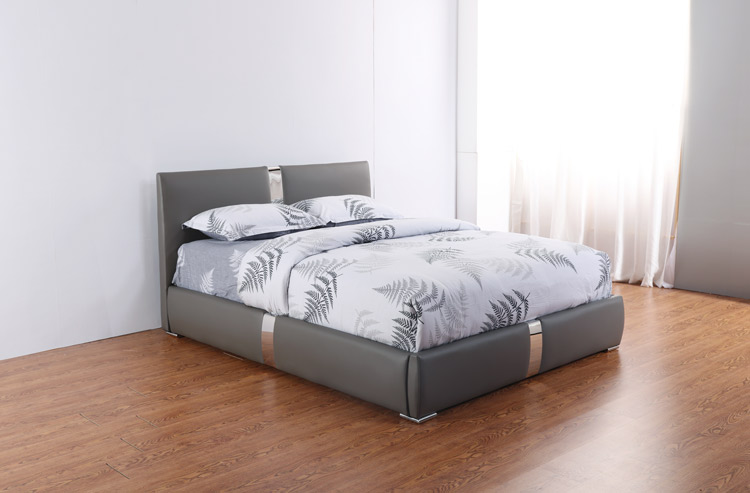 מיטה זוגית דגם דונה אפור עם ארגז מצעים